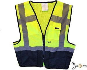 High Visibility Reflective Safety Vest Ppe Black Yellow Size Large Ppe