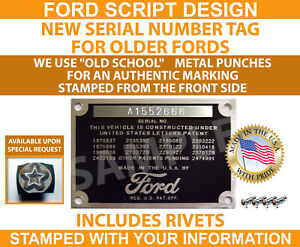 Stamped Ford Model A T Data Plate Vin Serial Number Tag 1928 1929 1930 1931 Usa
