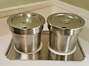Vollrath 2 7 1 4 Qt Soup veg Inserts Lids Adapter Plate For Steam Table