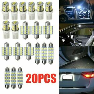 20x Combo Led Car Interior Inside Light Dome Map Door License Plate Lights Bulbs