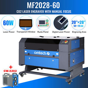 Omtech 28x20 Inch 60w Co2 Laser Engraver Cutter Ruida With Cw 5202 Water Chiller