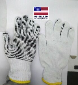 Choose Quantity single Sided Safety Non Slip Dotted Cotton Work Gloves