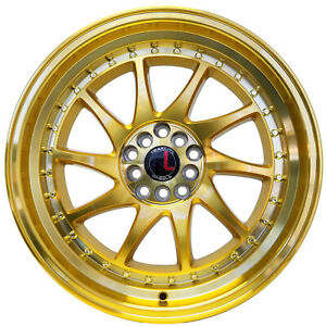 Traklite Turbo 18 x8 5 5x114 5x100 Gold Rims For Nissan Toyota Honda Set Of 4