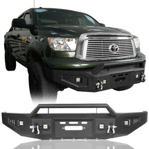 Powder Coated Front Bumper W Light Winch Plate For 2007 2013 Toyota Tundra