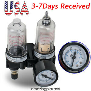 Air Filter Pressure Regulator Oil water Separator Trap Airbrush Compressor Us