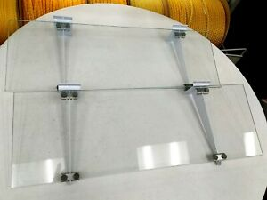 2x Pair 24 X 8 Tempered Display Case Glass Shelves Feet And Brackets 2pcs