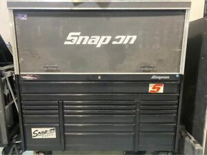 Snap on 72 3 Bay Black Tool Box chest Handmade Hutch With Lights Pegboard