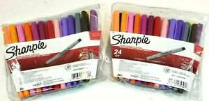 Lot Of 2 Sharpie Ultra Fine Point Permanent Markers 24 color Set