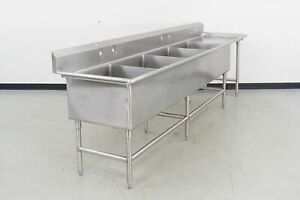 Used Stainless Steel 4 Compartment Sink W 25 Right Drainboard 600473