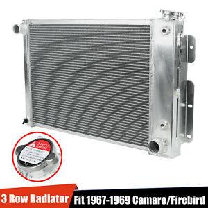 3 row Full Aluminum Racing Cooling Radiator For 67 69 Chevy Camaro firebird T a