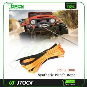 2 5 X100 23809lbs Synthetic Winch Rope Line Recovery Cable 4wd Orange Dyneema