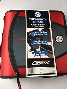 Case it Xl 3 ring 3 Inch Zipper Binder With 5 tab File Folder The Mighty Zip Tab