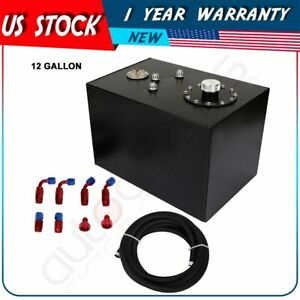 12 Gallon Top feed Coated Fuel Cell Gas Tank cap level Sender steel Line Kit