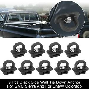 9pcs Black Side Wall Tie Down Anchor For Gmc Sierra And For Chevy Colorado