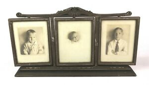 Antique Vintage 1920 S Art Nouveau Ornate Three Panel Picture Rotating Frame 8x6