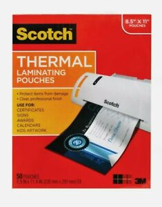 Scotch Thermal Laminating Pouches 50 Count 8 5 X 11 3 Mil Thick