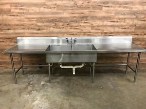 2 compartment Commercial Prep Sink table 128 W X 30 D X 43 5 H