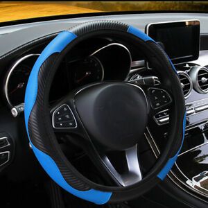 Black blue Fit 38cm 15 Inches Car Steering Wheel Cover Leather Pu Universal