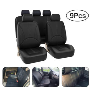 Pu Leather Car Seat Covers 9pcs Breathable Universal Cushion Front Rear Interior