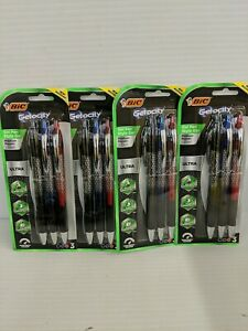 Lot Of 4 3 Pack Bic Gelocity Gel Pens 0 7mm Med Point Retractable red blue black