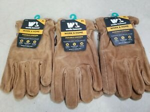 Lot Of 3 Pairs Wells Lamont Work Home Durable Cowhide Gloves Xl