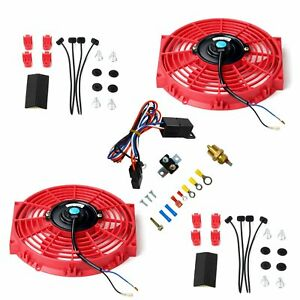10 Red Electric Radiator Cooling Fan 2pcs W Thermostat Relay Mounting Kit