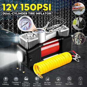 Led Heavy Duty Portable Air Compressor Car Tire Inflator Electric Pump Auto 12v