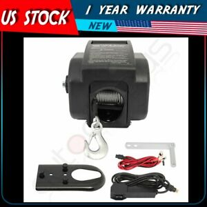 New 12 Volt Portable Electric Winch Towing Boat Kit Truck Trailer 2000 Lb