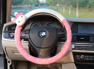 Rabbit Car Steering Wheel Cover Universal Fit 15 Lint Pink Lovely Cute Gift