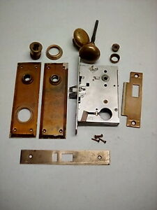 Mortise Lock Set With Antique Brass Door Knobs With Plates
