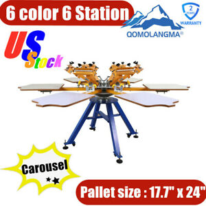 Pick up 6 Color 6 Station Screen Printing Machine Press T shirt Printer Carousel