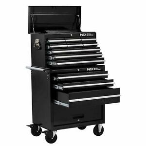 Professional 12 Drawer Combination Garage Tool Chest Rollaway Cabinet Black