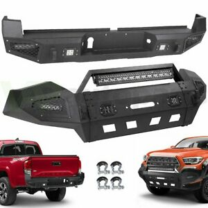 For 2016 2019 Toyota Tacoma Front Rear Bumper W Led Light Winch Plate D Ring