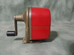 Red Midget Pencil Sharpener Apsco Wall Or Desk Mount Mid century Vintage