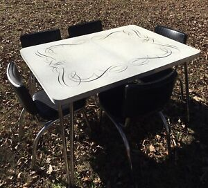 Vintage 1950 60 S Black White Silver Formica Kitchen Dinette Set Table Chairs