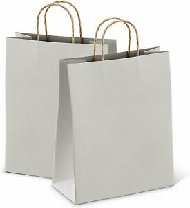 Gray Retail Shopping Kraft Gift Paper Bags With Handles 8x4 75x10 5 25ct