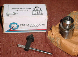 Rohm Drill Chuck Made In Germany 1 64 3 8 Capacity R8 38th Arbor Key 3 Jaw