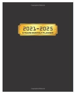 5 Year Planner 2021 2025 Weekly Monthly Calendar Organizer Black Gold Cover
