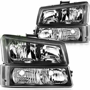 For Chevrolet Silverado 2003 2007 Headlight Assembly Pair Clear Lens Replacement