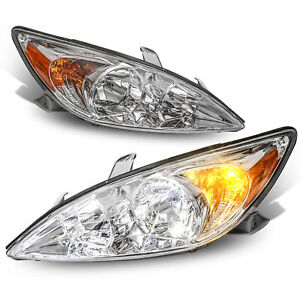Set 2 Chrome Headlight Assembly Front Lamps For 2002 2004 Toyota Camry
