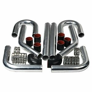 2 5 Inch Universal Aluminum Intercooler Turbo Piping Pipe Kit Silicone clamp