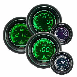 Prosport 52mm Turbo Oil Pressure Water Temperature Gauge Set Green White
