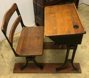 Vintage Wood Iron School Desk With Inkwell