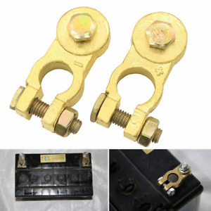 2pc Heavy Duty M8 Car Truck Battery Top Post Cable Terminal Cable Head Brass