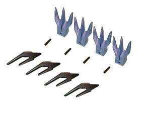 4 Excavator Combo Weld on Shanks Trident Rock Teeth Pins 1 Lip 550x156