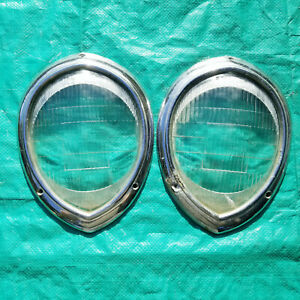 Antique Stabilite Oval Glass Headlight Pair