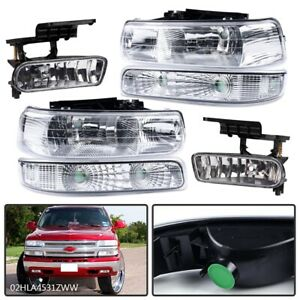 New Headlights fog Lights For 1999 2002 Chevy Silverado 2000 2006 Tahoe Suburban