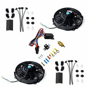 7 Universal Electric Radiator Cooling Fan Bk X2 W Thermostat Relay Install Kit