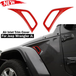 Red Car Leaf Plate Air Inlet Vent Trim Cover Decor For 2018 20 Jeep Wrangler Jl