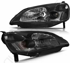 Headlights For 2001 2003 Honda Civic Headlamp Assembly Black Housing Replacement